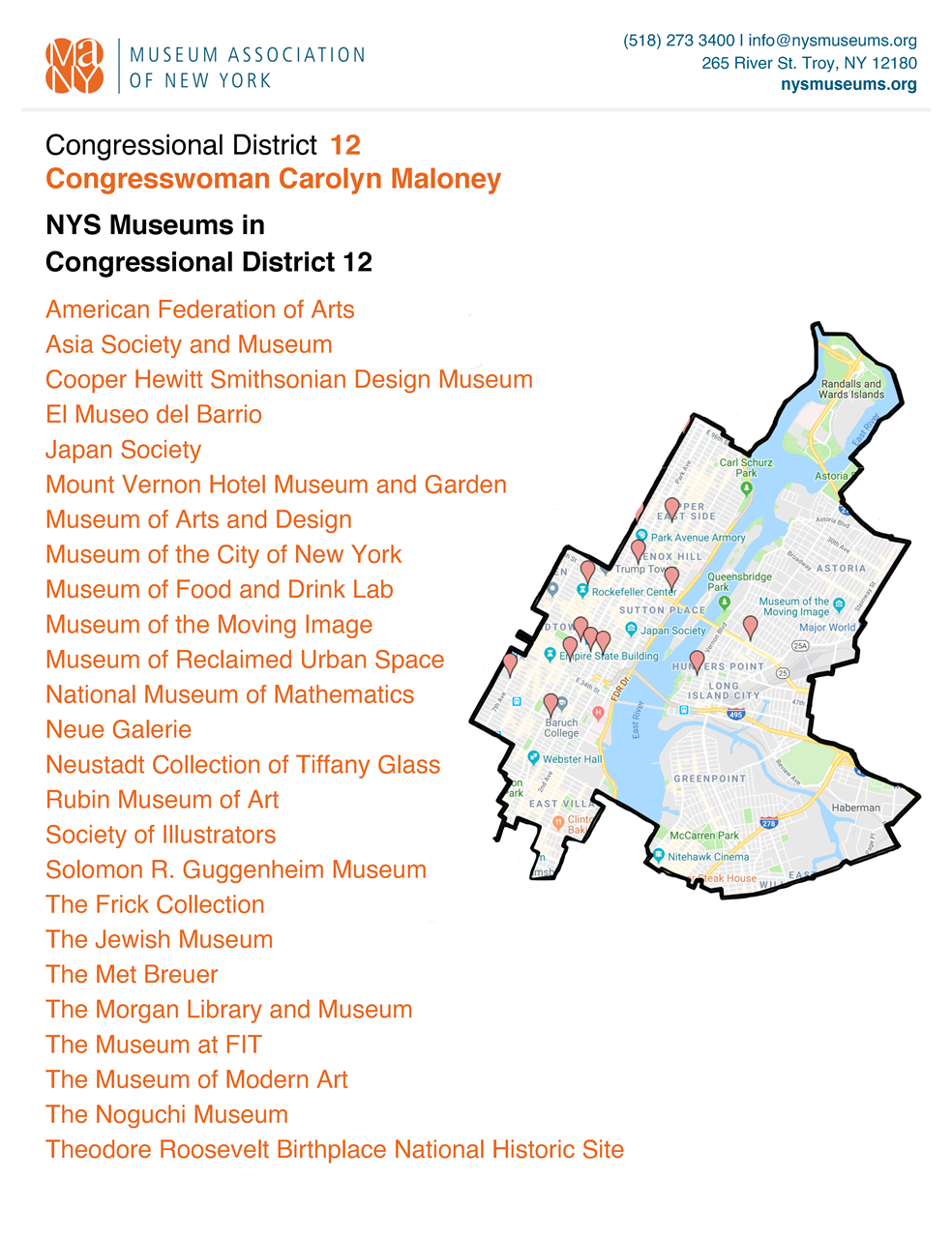 Museum Association of New York - Congressional Districts