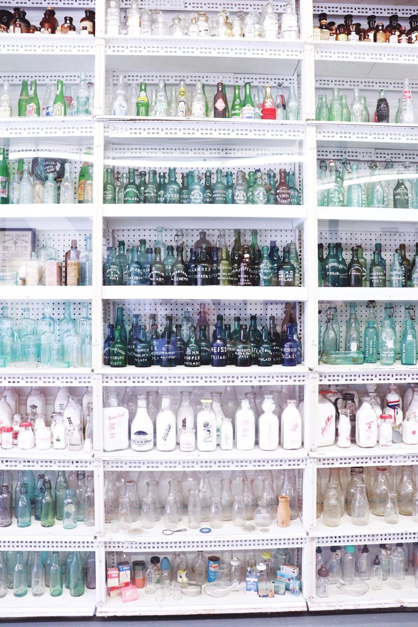 Bottles and bottle and bottles. Over 2,800 to be precise in the National Bottle Museum collection. This entire wall features 2,000 bottles of many colors, shapes and forms. The museum also offers hot-glass classes at their Glassworks Studio.