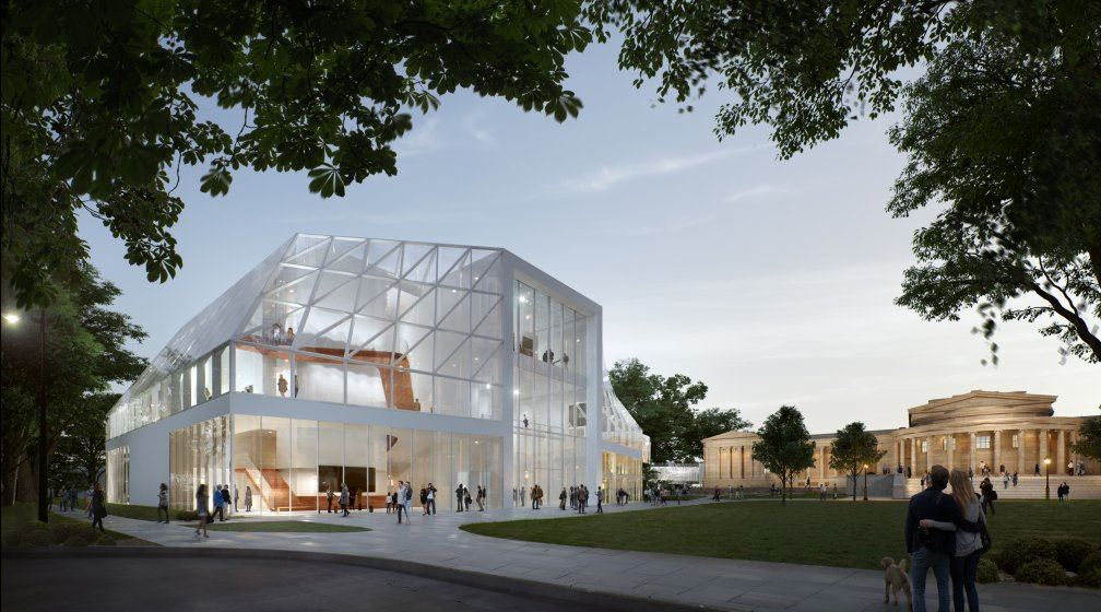 Design mock-up for the Albright Knox Gallery exhibition space. View of the north building from Elmwood Avenue. Image courtesy Albright Knox Gallery.
