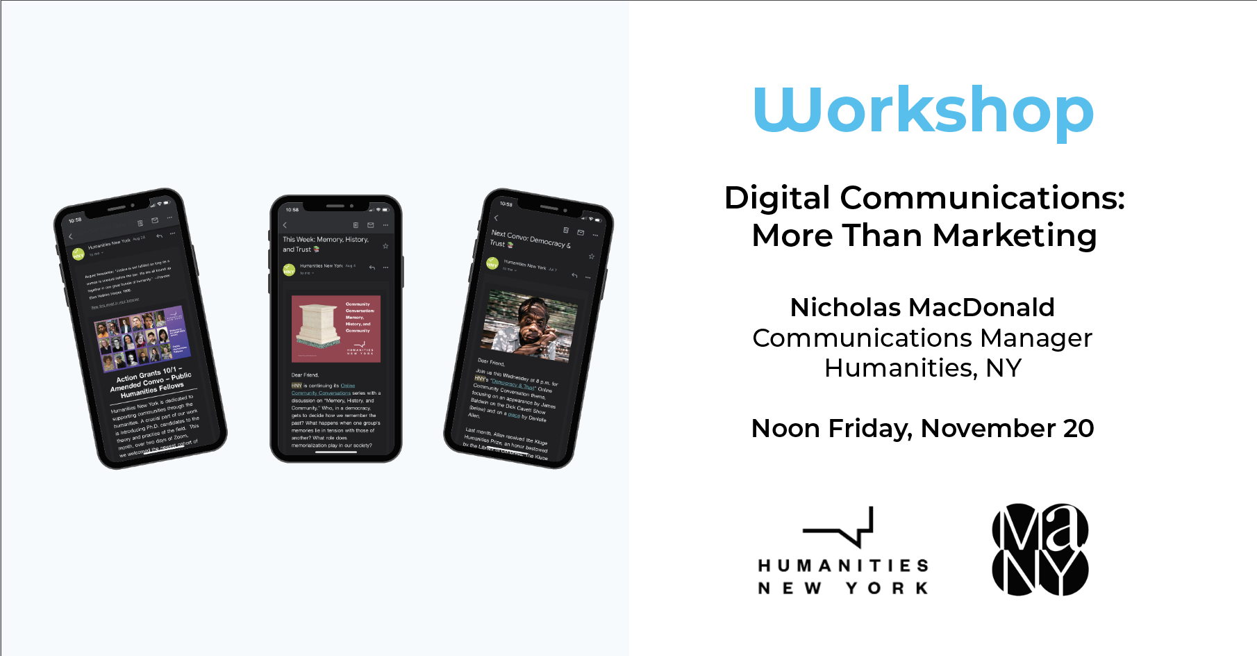 three iphones with promotional images from humanities new york on screen
