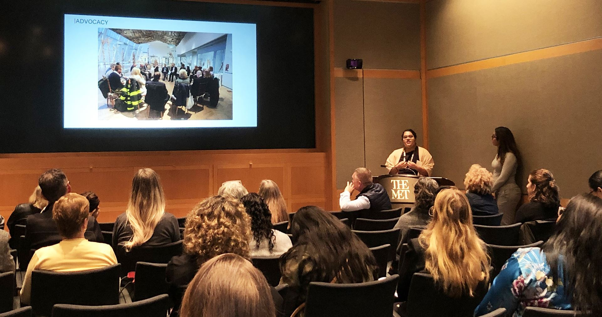 The Metropolitan Museum of Art External Affairs Team leads a presentation about the reinstallation and funding of the Arts of Africa, Oceania, and the Americas Galleries at the NYC Meet-Up